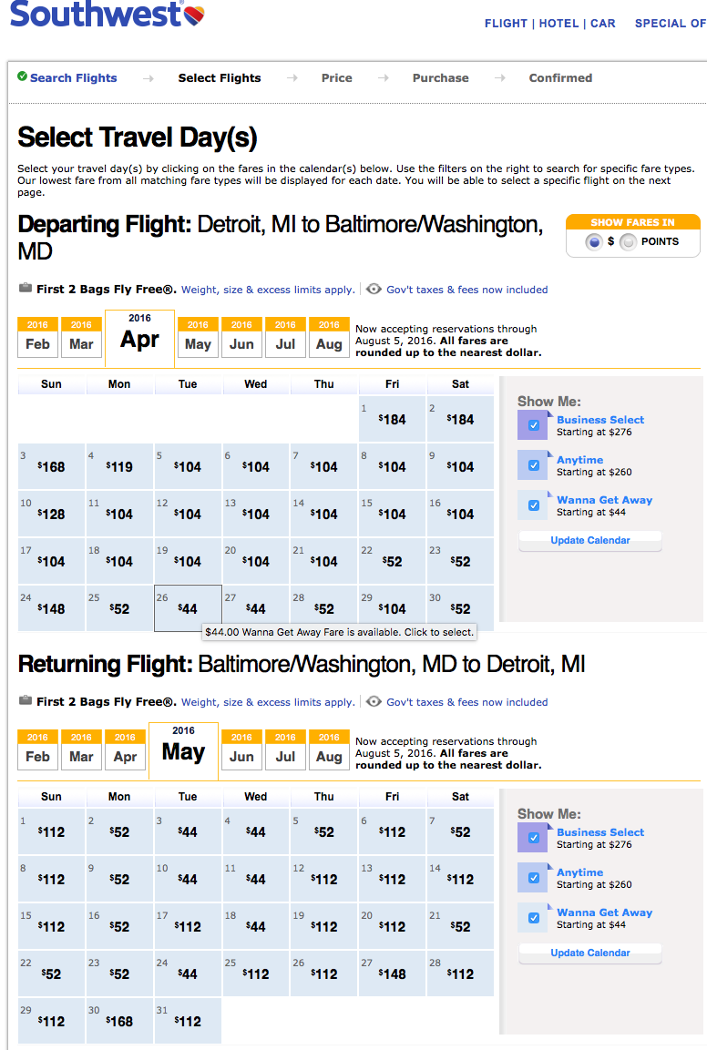 RT @airfarewatchdog: Detroit to/from Baltimore $44 each way Southwest