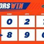 #GATORS WIN! No. 1 Florida defeats No. 2 Michigan, 8-0, in 5 innings!   UF is now 9-2 under @_TimWalton against UM. https://t.co/6BJSV345eT