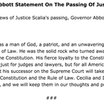 Breaking: #SCOTUS Justice Scalia is dead, according to the governors office and other reports. https://t.co/Rr52gfZpZo