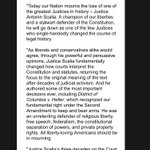 """TED CRUZ statement on Scalias death: He """"single-handedly changed the course of legal history."""" https://t.co/y65QyX7Q7L"""