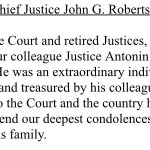 SCOTUS Chief Justice Roberts confirms the death of Justice Antonin Scalia. https://t.co/zSuFf3v2v2