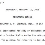 I believe this denial of stay of execution on Wednesday is the last official action of Antonin Scalia on #SCOTUS. https://t.co/GLk9GlbJTG
