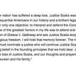 Jeanette & I mourn the loss of Justice Scalia, and our thoughts & prayers are with his wife Maureen & his family. https://t.co/e03KRZRM6q