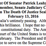 """.@SenatorLeahy: """"Its only February."""" Prez & Senate should nominate and confirm new #SCOTUS justice """"without delay"""" https://t.co/lbYv9eB6mQ"""