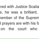 Statement from @BernieSanders on death of Supreme Court Justice Antonin #Scalia. #VT @NECN https://t.co/15aLDqKgbv