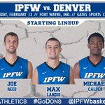Here is your #IPFWmbb starting lineup for tonights game against Denver!!! #GoDons #BeatThePioneers #3Nation https://t.co/8nR9x5SzD7