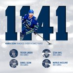 Congrats to Henrik Sedin, playing in his 1,141st regular season game. He's now first all-time in #Canucks history! https://t.co/yZFSyBt9uB
