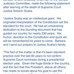 Heres Senate Judiciary Chairman Chuck Grassley saying no to a replacement for Scalia until after the election https://t.co/L1TyslLFKu
