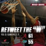 The Tide keeps rolling! @AlabamaMBB takes down Florida in a BIG road win! #BuckleUp https://t.co/azDbEx27S9