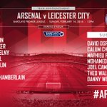 By Arsenal: The waiting is over... heres how Arsenal line up for #AFCvLCFC https://t.co/wH0UrKbYT0 https://t.co/Q6bF7zxR7G