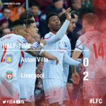 Its half-time at Villa Park and #LFC lead 2-0 thanks to goals from Daniel Sturridge and James Milner https://t.co/s3qgEa2PX0