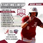 #BamaSB starters vs. Liberty. No TV...live stats (https://t.co/NdtBKZcH6H) & live audio (https://t.co/unL3KqJCUH) https://t.co/P6tMdSjvwC