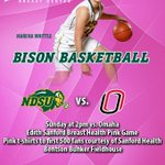 Its Bison game day!  NDSU vs Omaha - Edith Sanford Breast Health Pink Game, 2pm  Pink Bison ts to first 500 fans! https://t.co/peBu9P7WxE