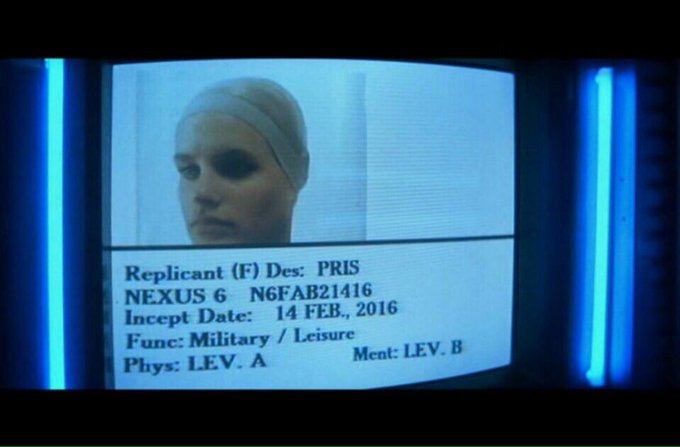 Feb 14, 2016 was the incept date of Pris, Bladerunner's 'basic pleasure model' replicant #nerdlove https://t