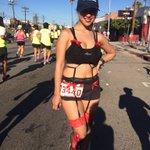 Only in #LosAngeles!!! Runners in lingerie! #LAMarathon #HappyValentineDay #MyDayInLA https://t.co/RKYWWu4pD6