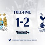 FT– Man City 1-2 Tottenham Hotspur. @ChrisEriksen8 wins it on his birthday! Get in there!!!!! #COYS https://t.co/cF8lbc2cqJ