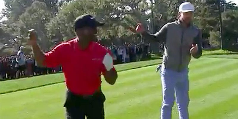 Alfonso Ribeiro and Justin Timberlake do 'the Carlton' during golf tournament