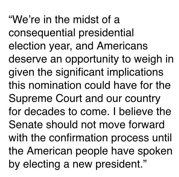 My statement on #SCOTUS vacancy: https://t.co/6C9mxybkGJ