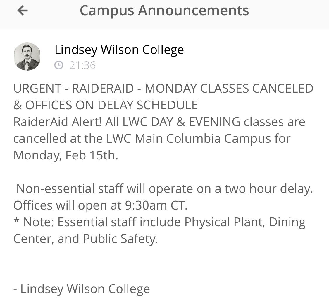All LWC classes canceled, offices open at 9:30am CT on Monday, Feb. 15. @WYMT @WKYT @LEX18News @ABC36News @neilwymt https://t.co/BNuKyncy58
