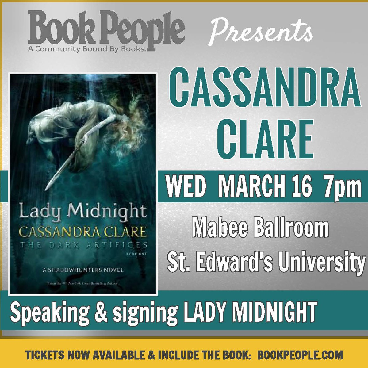 JUST BOOKED! Bestselling author @cassieclare speaks/signs LADY MIDNIGHT Wed, 3/16 7PM https://t.co/ADmmrH2kiT #YALit https://t.co/tH8ARYvokr