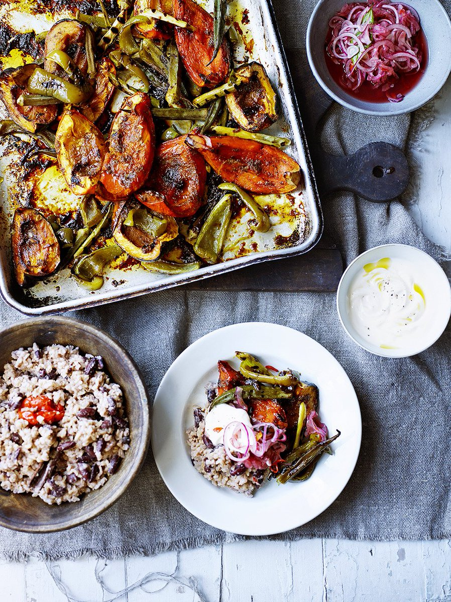 Rice & peas with jerk roasted vegetables for #RecipeOfTheDay - seen in @JamieMagazine: https://t.co/RorbeJ5hZv https://t.co/gGmKrtt81F