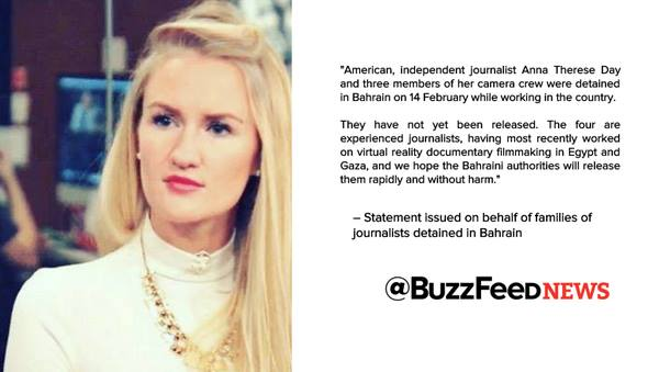 My friend & an incredible journalist Anna Day @ATDLive has been detained while working in Bahrain. Please RT https://t.co/u5nixQ71W7