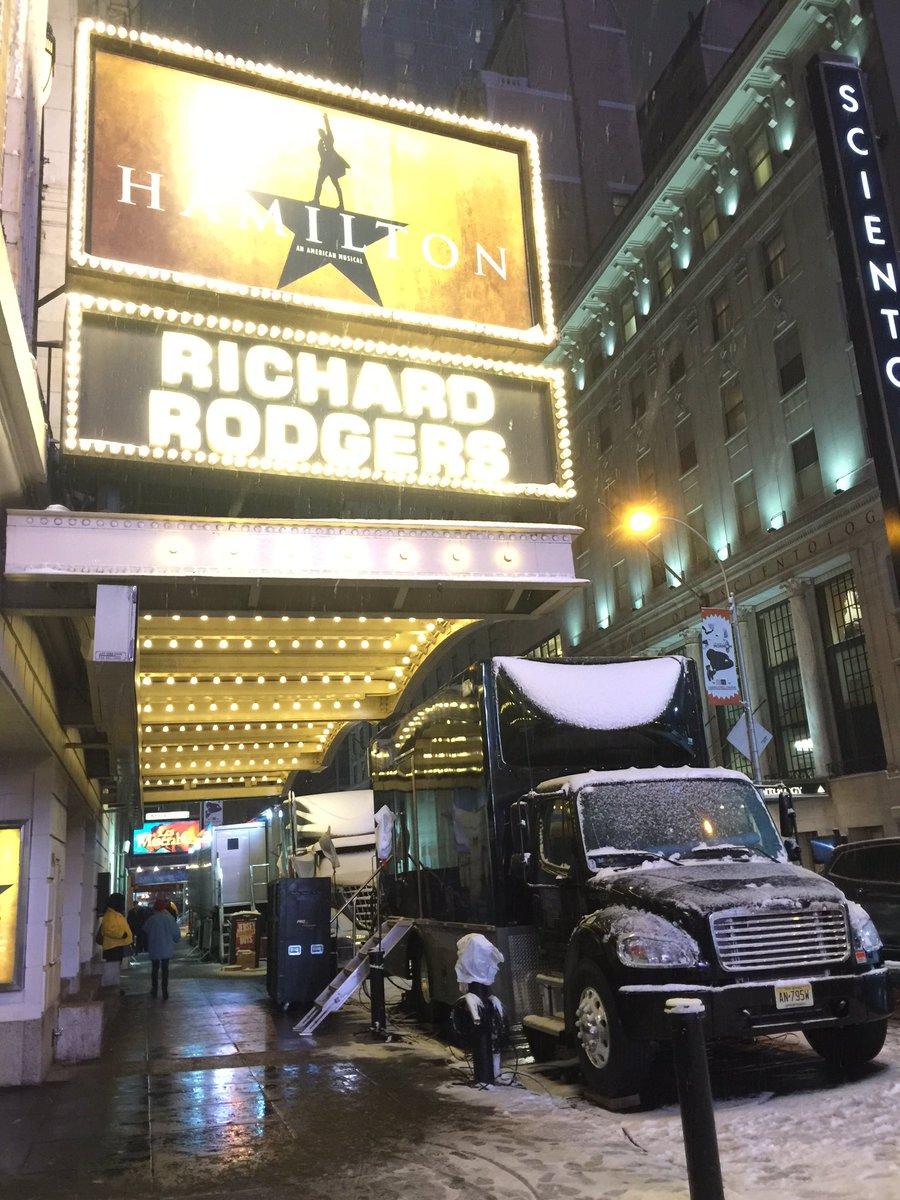 Big production trucks outside the Richard Rodgers!! #Grammilton #Hamilton #Broadway #Grammys https://t.co/nqA8q3KmKV