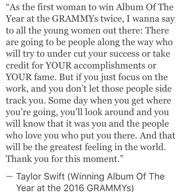 Her acceptance speech was everything!!!! Don't let others take credit for your success!! @taylorswift13 #GRAMMYs https://t.co/bSKHrdlyz5