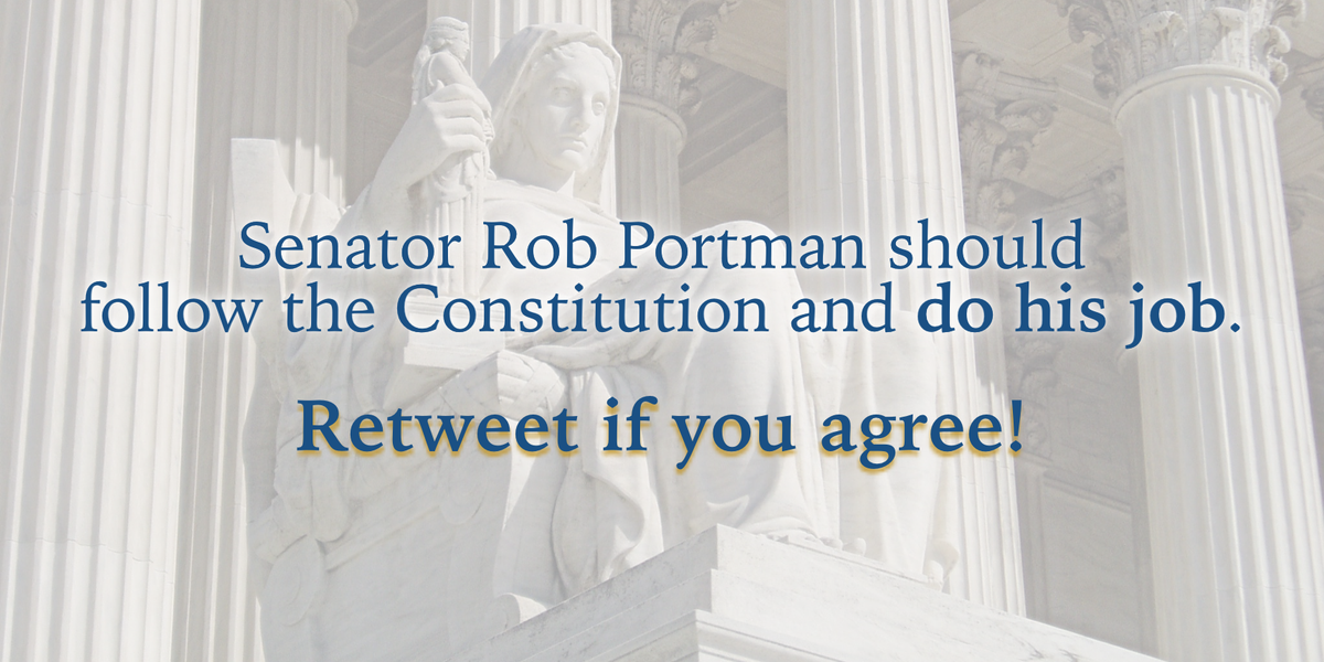 Retweet if you think that Senator Portman should follow the Constitution, not Mitch McConnell. #OHSEN #Inners https://t.co/Bx6mwJmgHU