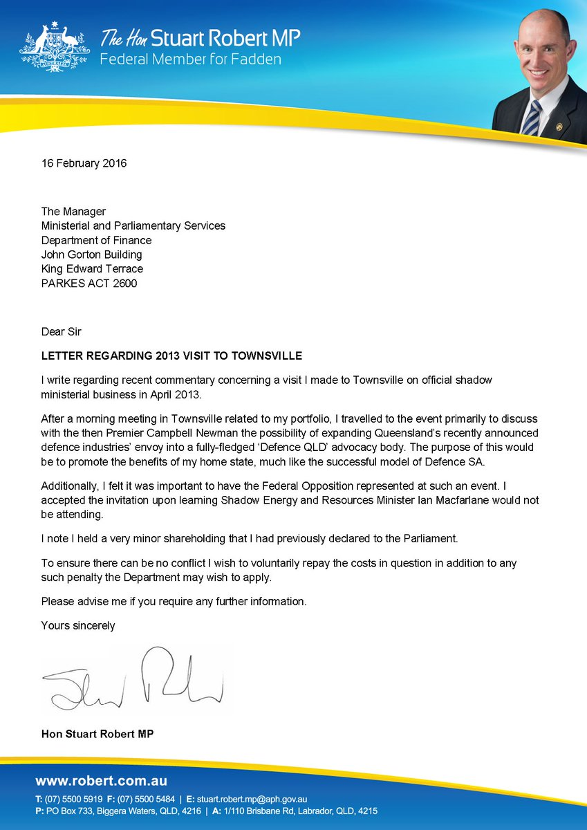 Letter regarding my 2013 visit to Townsville. So there is no conflict, I will repay the costs in question. https://t.co/cPpluPbd7y