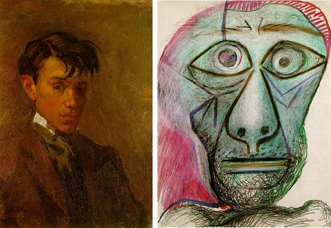 Picasso's self portrait at 16 and at 72 https://t.co/koYjmFJaLX