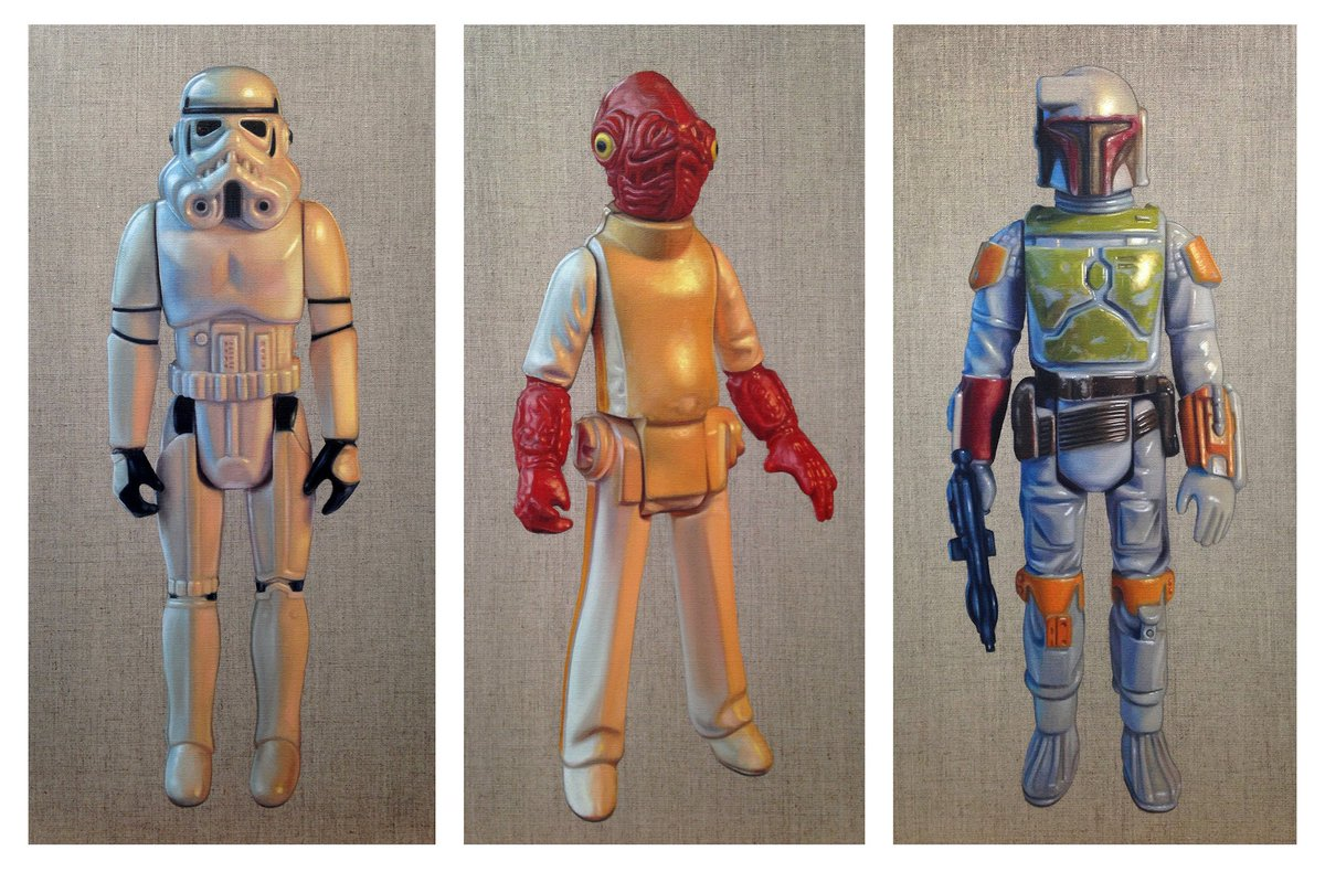 Here's the first 3 paintings from my Star Wars toy series. Each Oil on Linen 60 x 30cm. Pls RT! #figurepainting https://t.co/5selGzCqKo