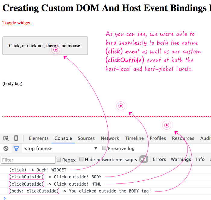 "Awesome pants! You can create custom DOM events, like ""clickOutside"", in #Angular2. https://t.co/ao0KJMHXZn https://t.co/kD2usUsGjD"