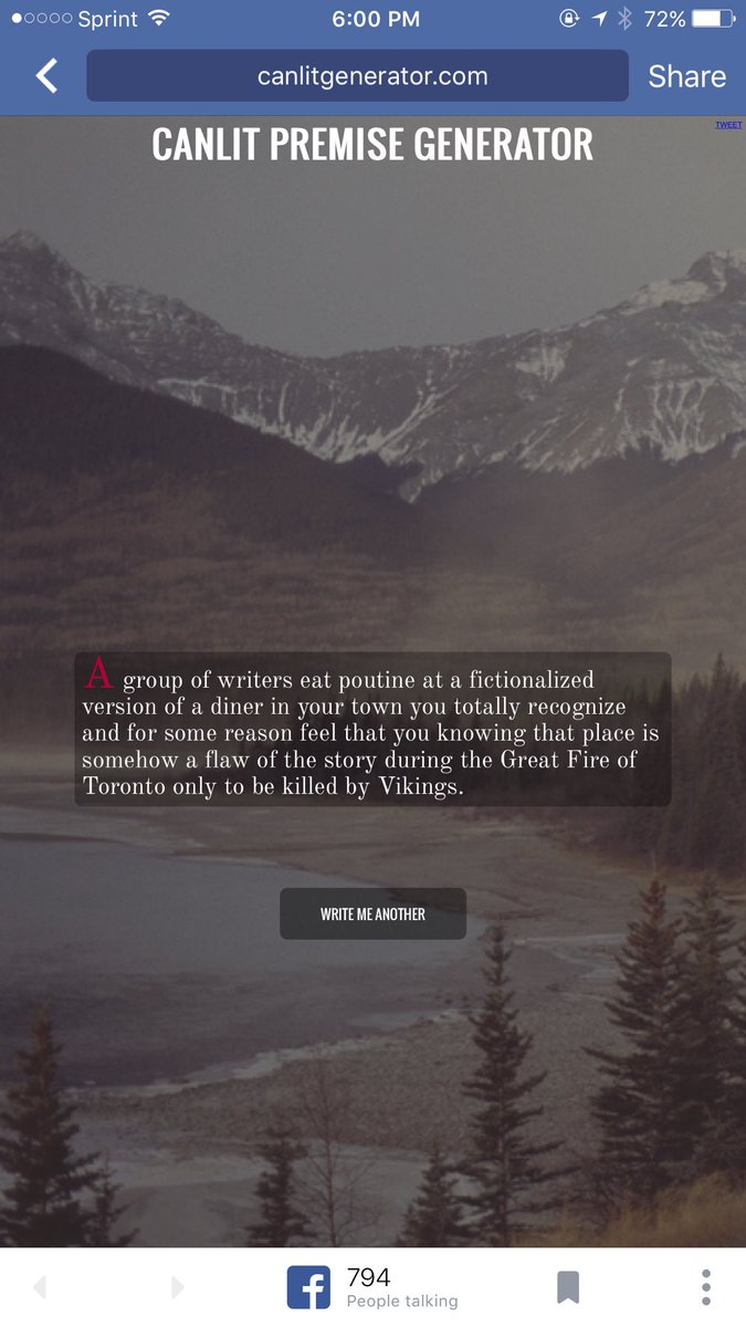 So there's this thing called #canlit generator and IT IS AMAZING https://t.co/o1F63RPLVK https://t.co/vYfr5Z6WFQ