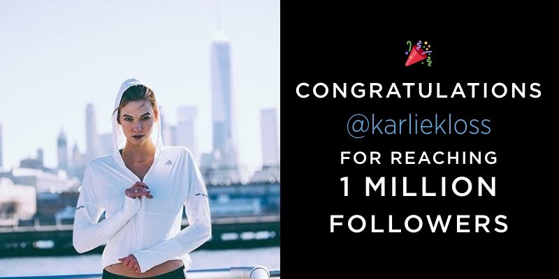 Take a bow, @karliekloss—we celebrate milestones here. Congrats!