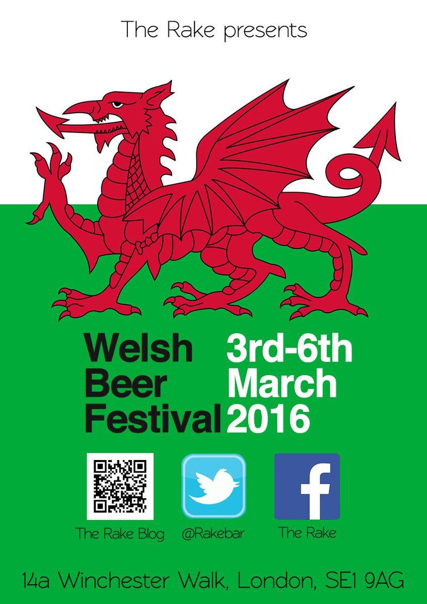 Welsh Beer Festival at @Rakebar Thurs 3 - Sun 6 March https://t.co/t0HTKJpqen #StDavidsday #Wales #BeerFestival https://t.co/6ktyte9CVI