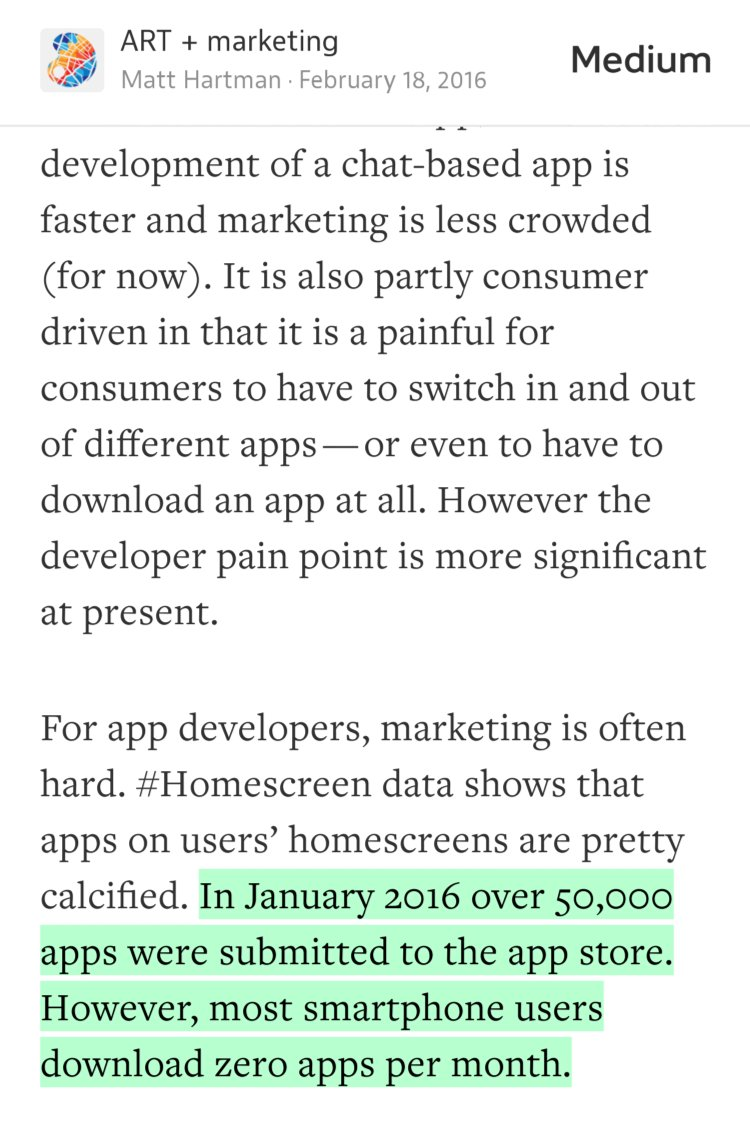 In Jan. over 50K apps were submitted to App store; avg user DL's 0 per mo.  — @MattHartman https://t.co/KiN8btwgEO https://t.co/ijtViHzKmS