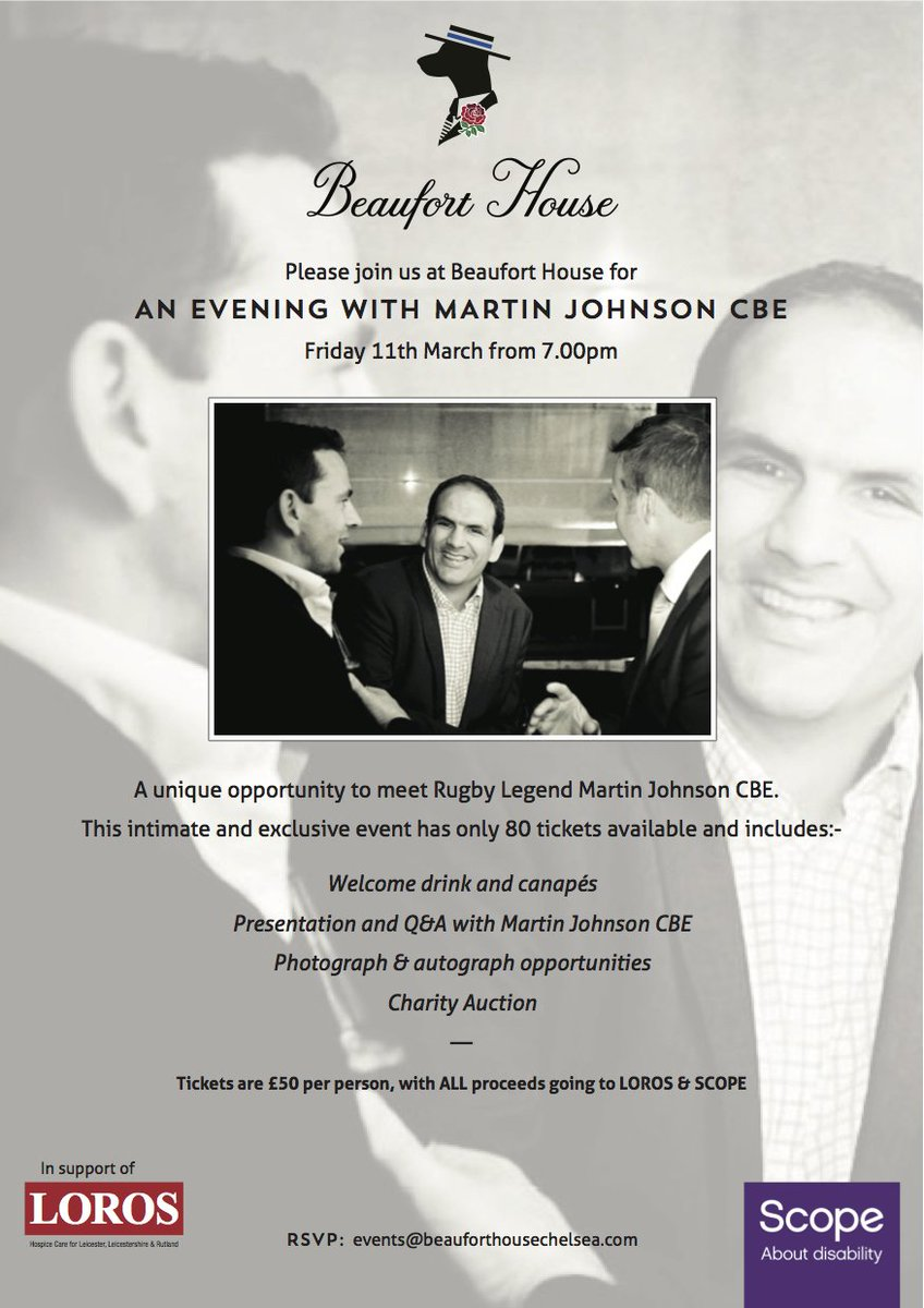 Tickets are selling quickly for our evening with #RugbyLegend #MartinJohnson in aid of @LOROSHospice & @scope 11 Mar https://t.co/o3JF7swl3v