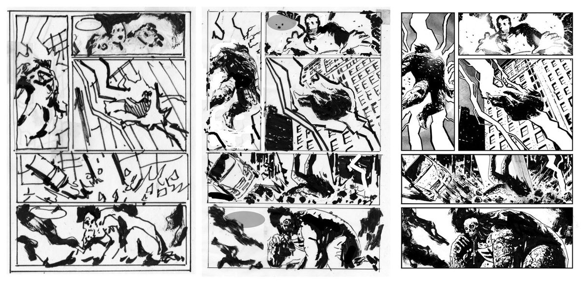 Was asked about process at a recent con. So here's an example of layouts, pencils and inks from a recent BPRD... https://t.co/SHfJT2N8QH
