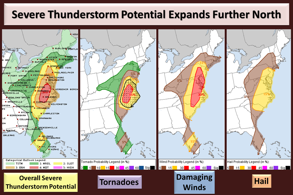Map Areas Of The Us East Coast Under Potential For Severe Thunderstorm Or Tornadoes Wednesday Atnwseastern