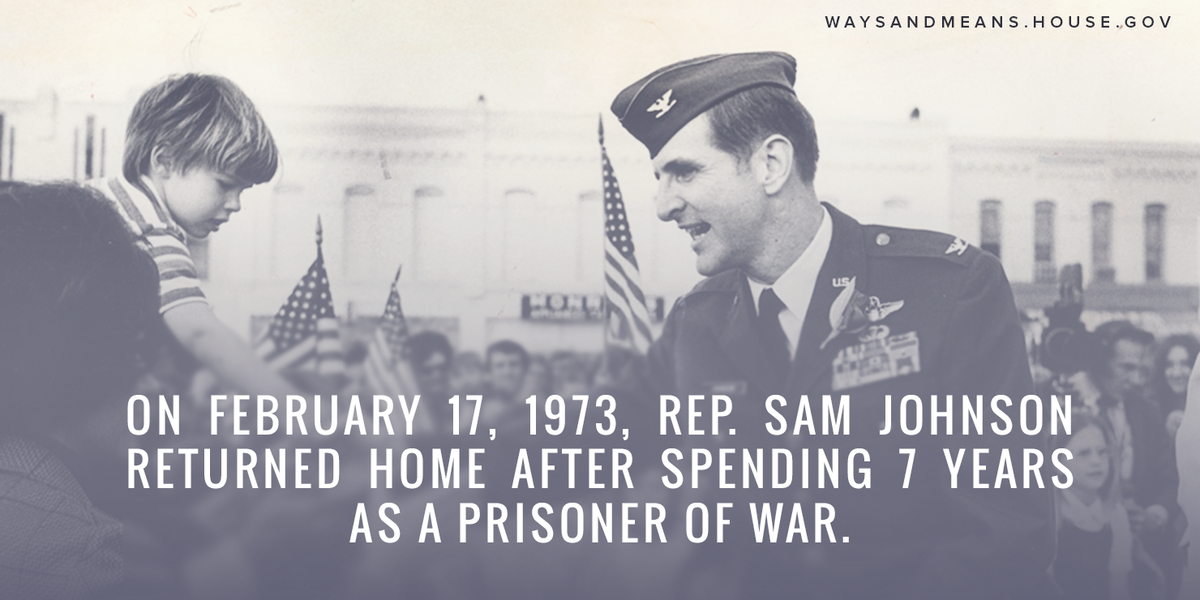 On this day in 1973, Rep. Sam Johnson returned home after enduring nearly 7 years as a Prisoner of War in Hanoi. https://t.co/WUNCoqtAXK