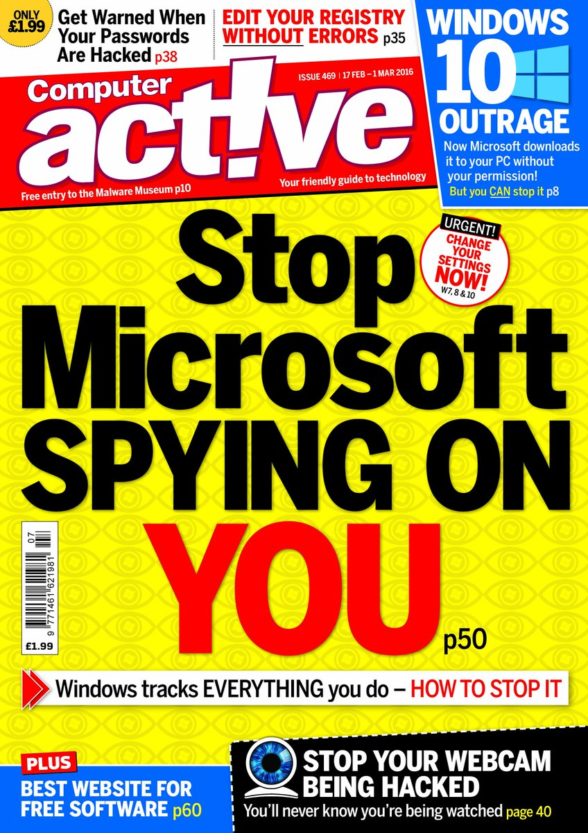 Our latest issue tells you how to stop Microsoft spying on everything you do in Windows. . . https://t.co/9NIkhqL5s0