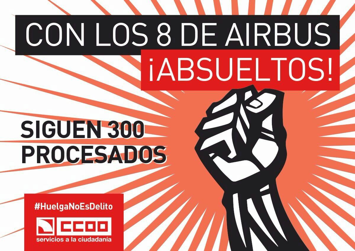 Con #Los8deAirbus absueltos, siguen 300 procesados #HuelgaNoEsdelito @FSCdeCCOO https://t.co/e56UhrRcYY