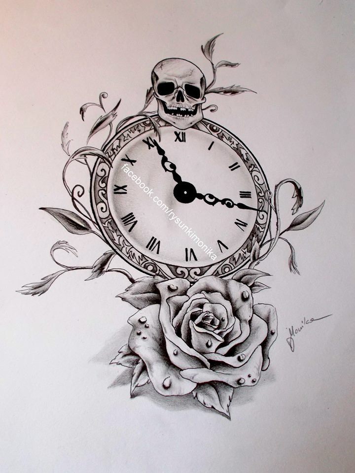 Rysuję Na Zamówienie On Twitter Tattoo Design Clock And Rose Https T Co 48swgyvkml Instagram Rysunki Monika Nulkgoiroj