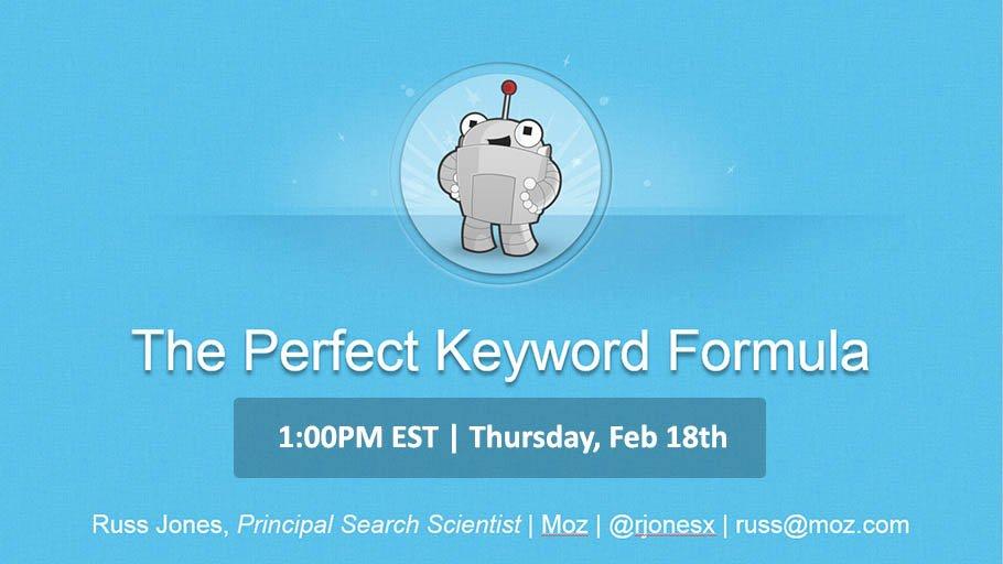 Webinar on The Perfect Keyword Formula https://t.co/JesjuXgHil #seo #keywords #tools https://t.co/0LrYPYTW1P
