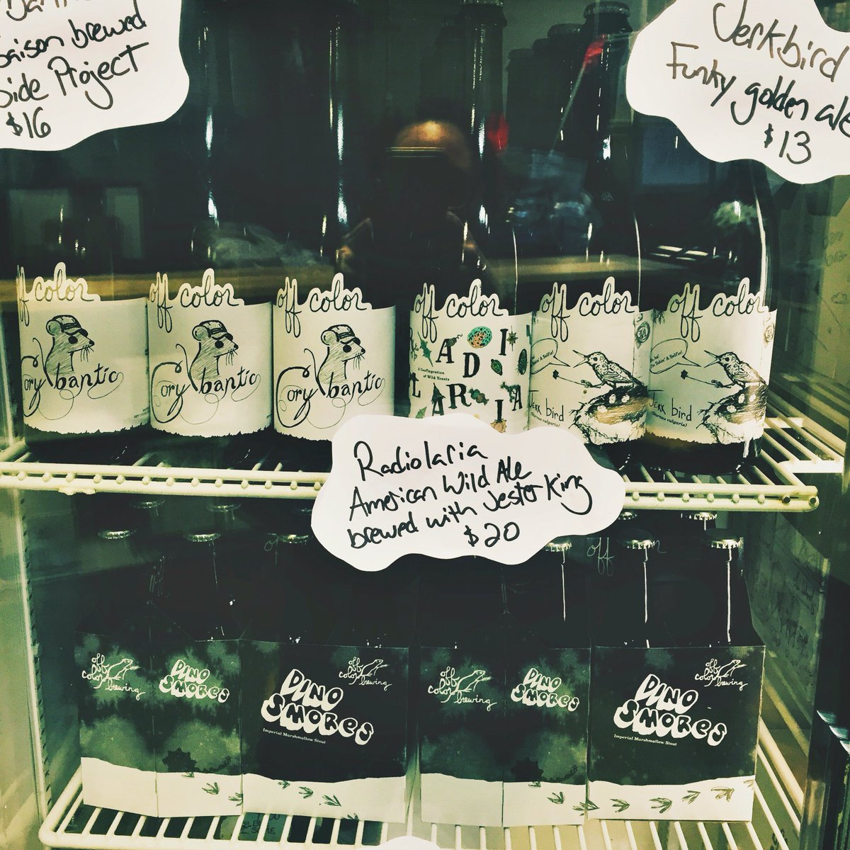 The @offcolorbrewing shop is open! #Dinosmores, Radiolaria, Corybantic, Jerkbird + fresh Bare Bare & Troublesome https://t.co/5YBE2qt5M2