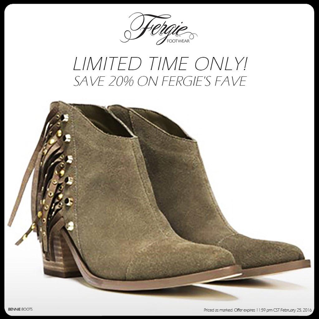 RT @FergieFootwear: SAVE 20% on the #FergieFave BENNIE #booties NOW thru 2/25!???? #bootsale #newboots #fringeboots https://t.co/hpcNIW5kb9 ht…