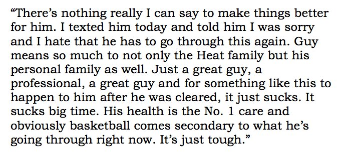 #Cavs LeBron James on the latest Chris Bosh health scare https://t.co/WkZFNnGliZ