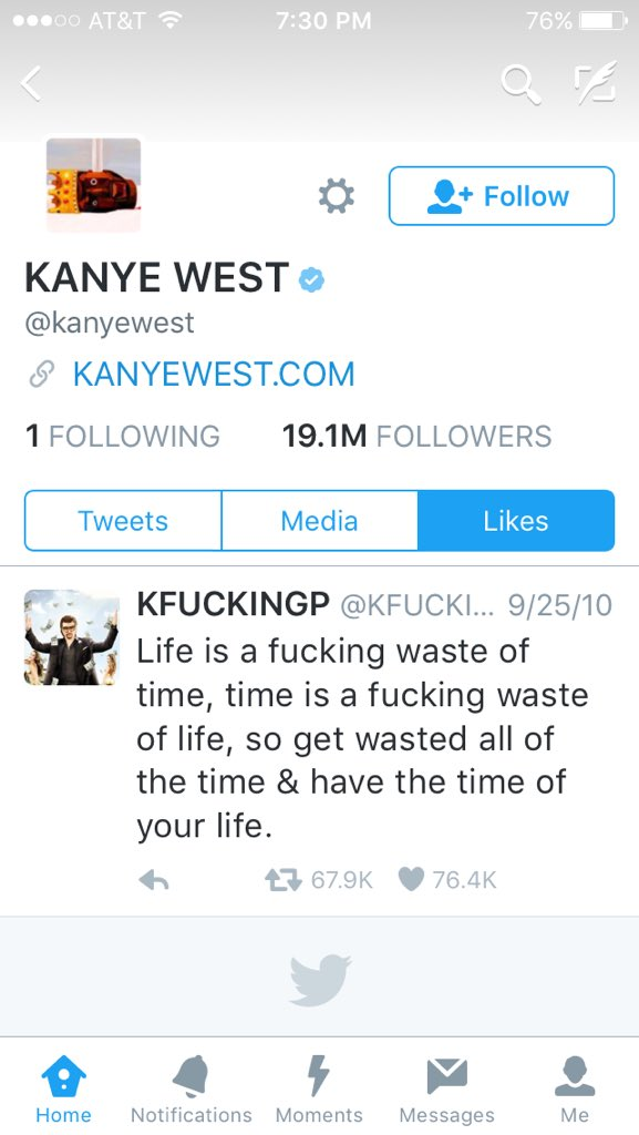 Anyone ever notice this is the ONE tweet @kanyewest has favorited? Sage advice from @KFUCKINGP https://t.co/kiHhvocFNi