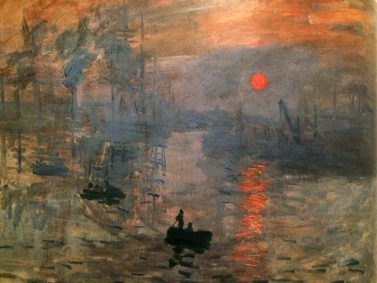 Monet's sun is the same value as the sky. Part of you sees the sun while the other part doesn't, makes it eerie. https://t.co/Gxn6ZQjavP